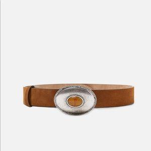 Zara Leather belt with stone embellishment